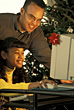 African-american Father and Daughter on Christmas stock photo