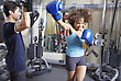 African American Woman Has Aboxing Workout With An Asian Man stock image