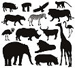 African Animals Silhouettes Set. Vector Illustration. EPS 8