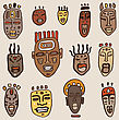 African Masks Set. Ethnic Hand Drawn Vector Illustration