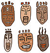 African Masks Set. Vector Isolated Over White