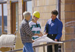 Agent or Builder with Clients stock image