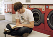 reading male washer learn study leisure stock photo