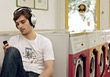 music male leisure listening headphones people stock image