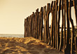beaches sand fence old wooden stock image