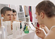 shave reflections shaving bathroom people skin stock image