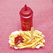 chips catsup fries frenchfries picnicking food stock image
