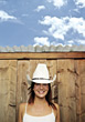 cowgirl happiness teeth people posing close-up stock image