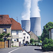 smokestacks nuclear industrial pollution power industry stock image