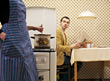 expression stove communications concern housewife kitchen stock image