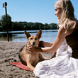 dogs relax leisure adult relaxing people stock photo