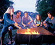 flames grill chatting people fire camp stock image