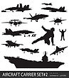 Aircraft Carrier And Naval Aircrafts High Detailed Silhouettes Set#2. stock vector