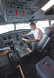 Aviation Airline Pilot Performing Pre-Flight Checklist stock photo