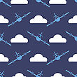 Airplane Silhouette Seamless Pattern On Blue Background