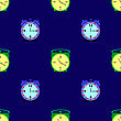 Alarm Clock Seamless Pattern On Blue Background