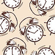 Alarm Clock Sketch Seamless Pattern. EPS 10 Vector Illustration Without Transparency
