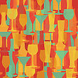 Alcohol Bottles And Glasses Seamless Pattern. Beer, Champagne, Wine And Other Drinks Design. Menu And Restaurant Background