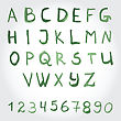 Alphabet In Green Colors. Watercolor Paint. Vector