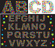 Alphabet - Letters Are Made Of Multicolored Stars stock vector