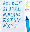 Alphabet Set - Letters Are Made Of Blue Marker