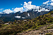 Ama Dablam And Thamserku Peaks: Himalaya Landscape. Pictured In Nepal stock photo