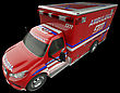 Ambulance: Top Side View Of Emergency Services Vehicle On Black. Custom Made And Rendered