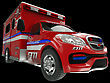 Ambulance: Wide Angle View Of Emergency Services Vehicle On Black. Custom Made And Rendered stock illustration