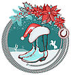 American Cowboy Boots And Santa Red Hat On Christmas Background With Lasso Frame
