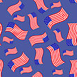American Flag Seamless Pattern Isolated On Blue Background