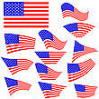 American Flags Icons Isolated On White Background stock illustration