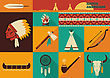 American Indian Set Of Icons.Vector Illustration Of Flat Design Style stock illustration