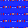 American Vote Seamless Pattern On Blue Background