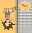 Amused Young Girl Standing With Her Head Hanging Down, Vector Illustration