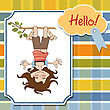 Amused Young Girl Standing With Her Head Hanging Down, Vector Illustration stock illustration