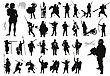 Ancient And Modern Warriors And Soldiers High Detailed Silhouettes Set. Vector