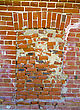 Rectangle Ancient Window On Obsolete Brick Wall stock photo