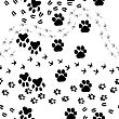 Animal Footprint Seamless Vector Pattern. For Easy Making Seamless Pattern Just Drag All Group Into Swatches Bar, And Use It For Filling Any Contours.