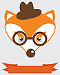 Animal Vector Portrait, Fox In Bowler Hat And Monocle, Vintage Style Portrait stock illustration