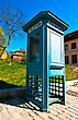 Antique Phone Booth In The Park Skansen In Stockholm stock photography