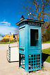 Antique Telephone Booth And A Cart In The Park Skansen In Stockholm stock photography