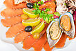 Appetizer Closeup Of Different Seafood And Vegetables stock photography