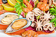Appetizer Closeup Of Different Seafood And Vegetables stock image