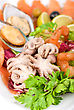 Vegetables Appetizer Closeup Of Different Seafood And Vegetables stock photography