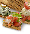 Appetizers Appetizers With Crackers,Dip ,Vegetables And Mozzarella Cheese stock photo