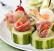 Appetizers With Smoked Meat ,Seafood And Vegetables stock image