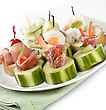 Appetizers Appetizers With Smoked Meat ,Seafood And Vegetables stock image
