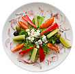 Appetizing Salad In A Plate On White Background stock photo
