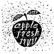 Apple Icon Typography Design On White Grunge Background. Vintage Fruit Poster, Banner, Logo Or Label With Lettering stock illustration