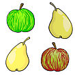 Apple And Pear Fruit Set Of stock vector